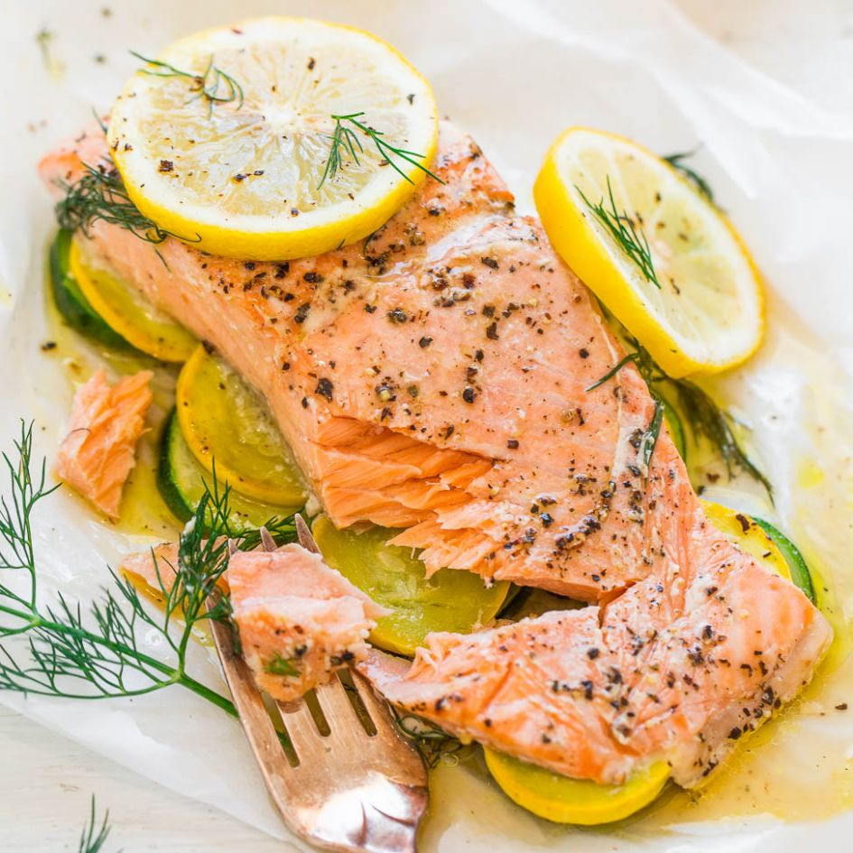 Lemon Dill Salmon in Parchment (+ Veggies!) - Averie Cooks - Recipe Fish Dill
