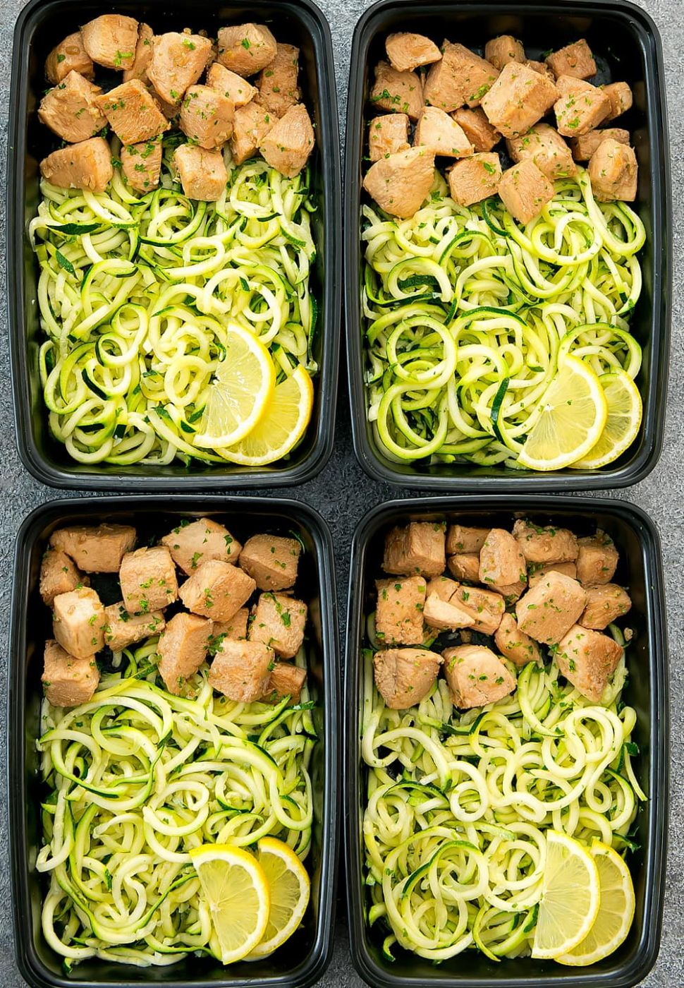 Lemon Garlic Chicken with Zucchini Noodles Meal Prep - Recipe Chicken Zucchini Pasta
