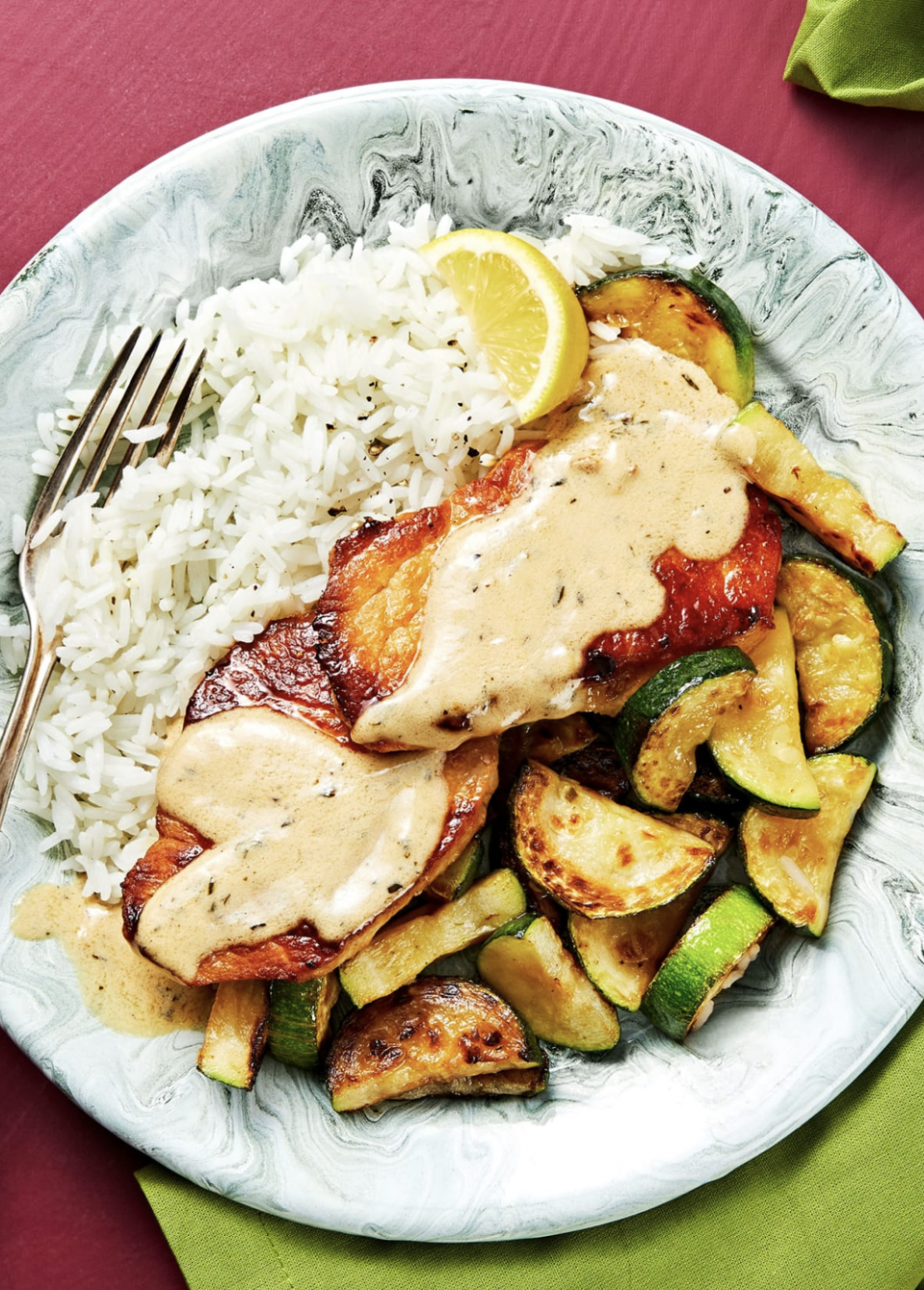 Lemon-Thyme Pork with Roasted Zucchini and Garlic Herb Rice - Pork Recipes Quick