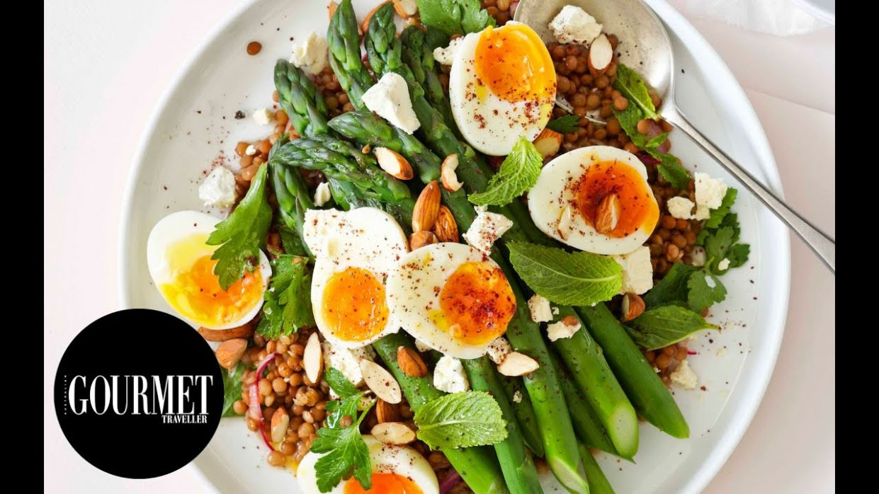 Lentil and asparagus salad with egg and sumac | Gourmet Traveller - Salad Recipes Gourmet Traveller