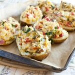Loaded Greek Twice Baked Potatoes (Vegan)