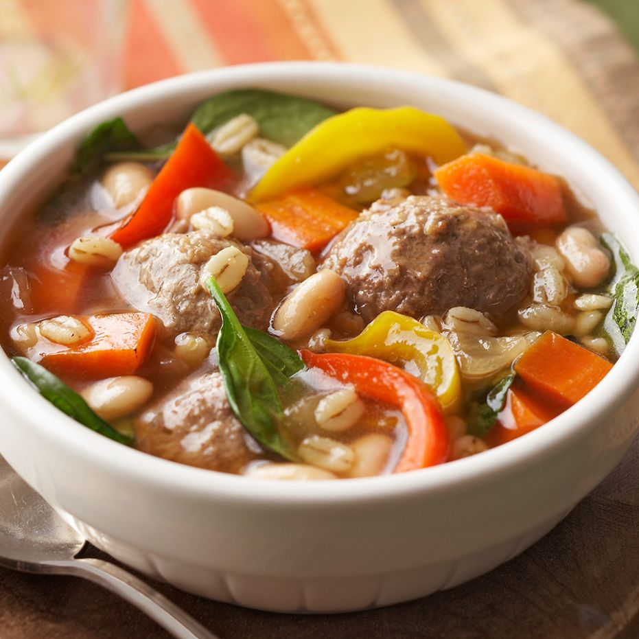 Meatball-Barley Soup - Soup Recipes For Diabetics