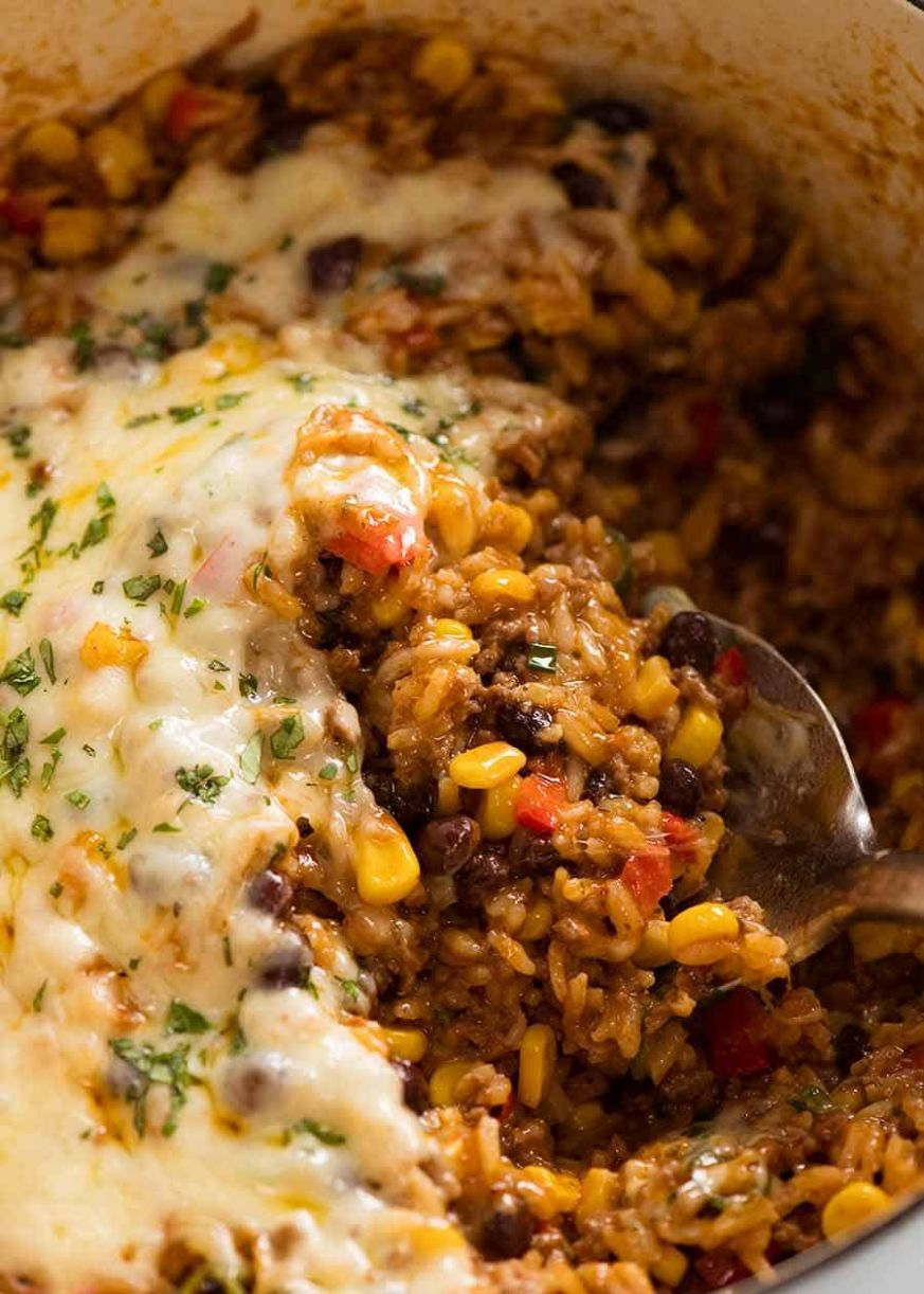 Mexican Ground Beef Casserole with Rice (Beef mince!) - Recipes Rice Mince