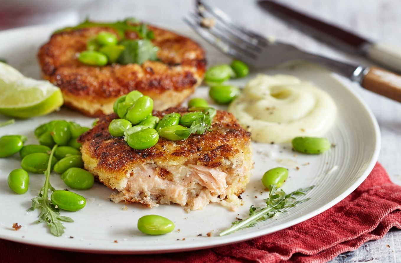 Miso and lime salmon fishcakes with wasabi mayo - Recipes Fish Cakes Salmon
