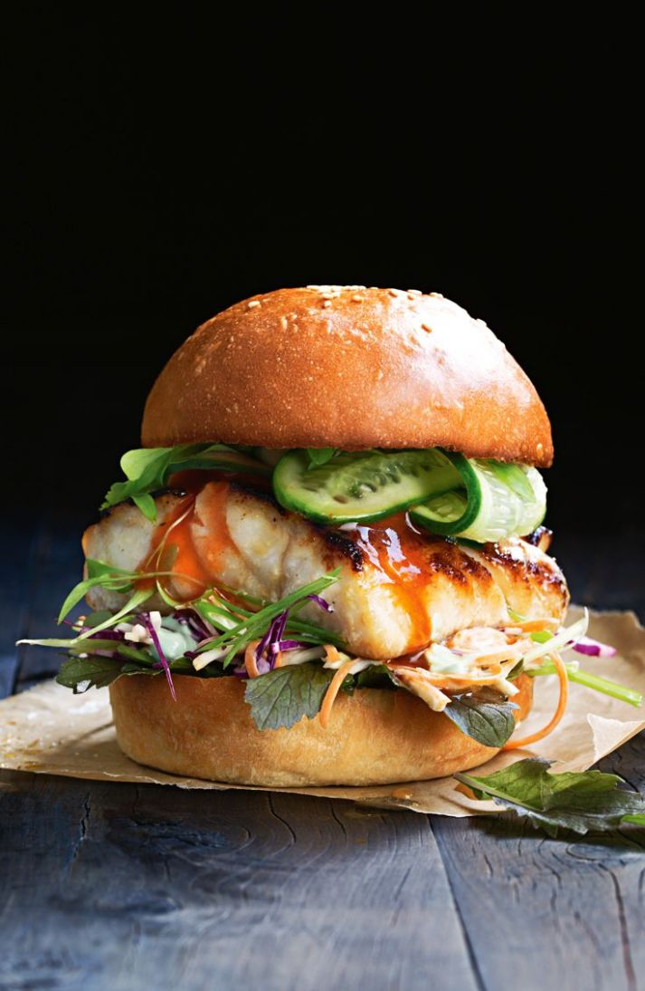 Miso fish burger with pickled cucumber and slaw - Recipes Fish Burgers