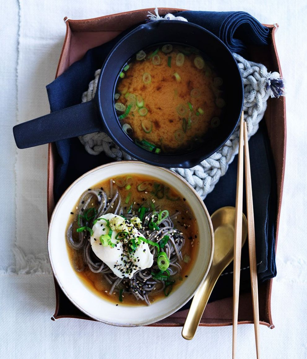 Miso with soba, poached eggs and spring onion - Soup Recipes Gourmet Traveller