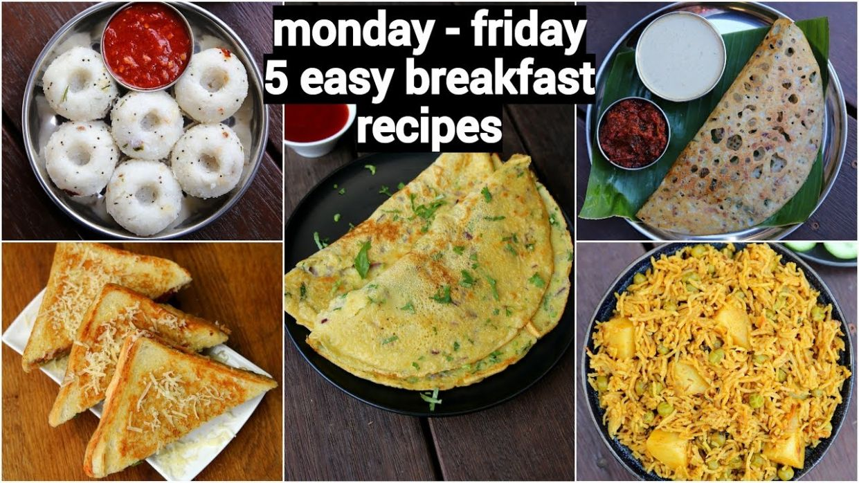 monday to friday 12 minute breakfast recipes | 12 झटपट नाश्ते मिनटों में | 12  easy breakfast recipes - Breakfast Recipes Youtube Video