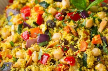 Moroccan Couscous with Roasted Vegetables, Chick Peas and Almonds