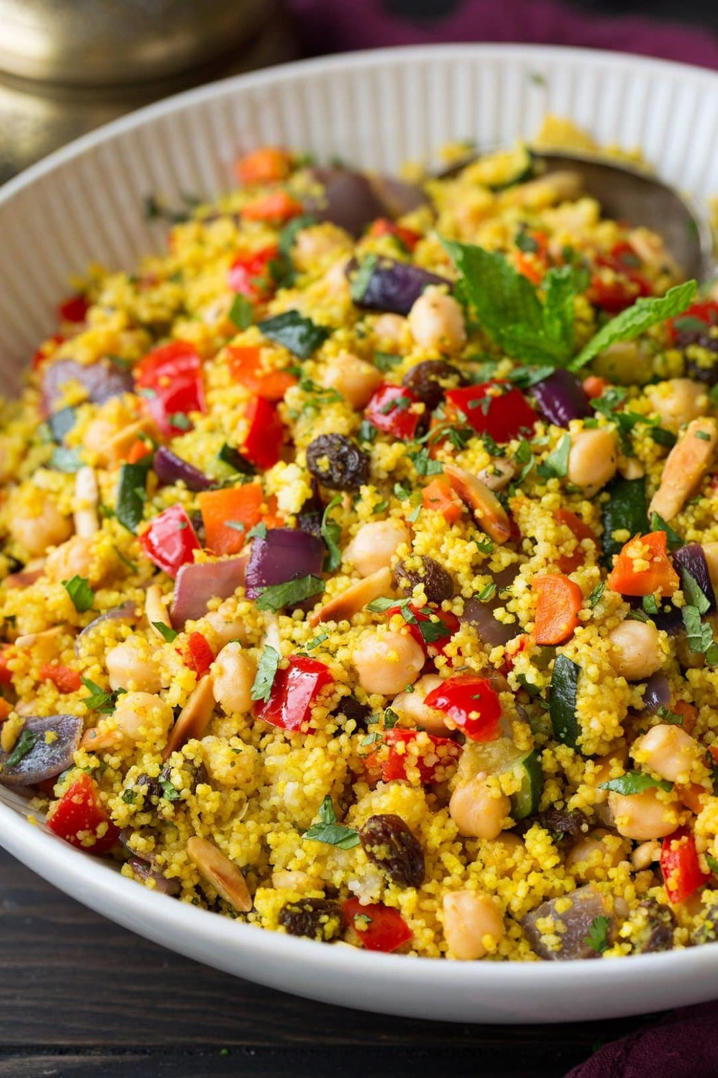 Moroccan Couscous with Roasted Vegetables, Chick Peas and Almonds - Recipes Couscous Salad