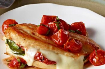 Mozzarella-Basil Chicken with Roasted Tomatoes — Chicken breasts ...