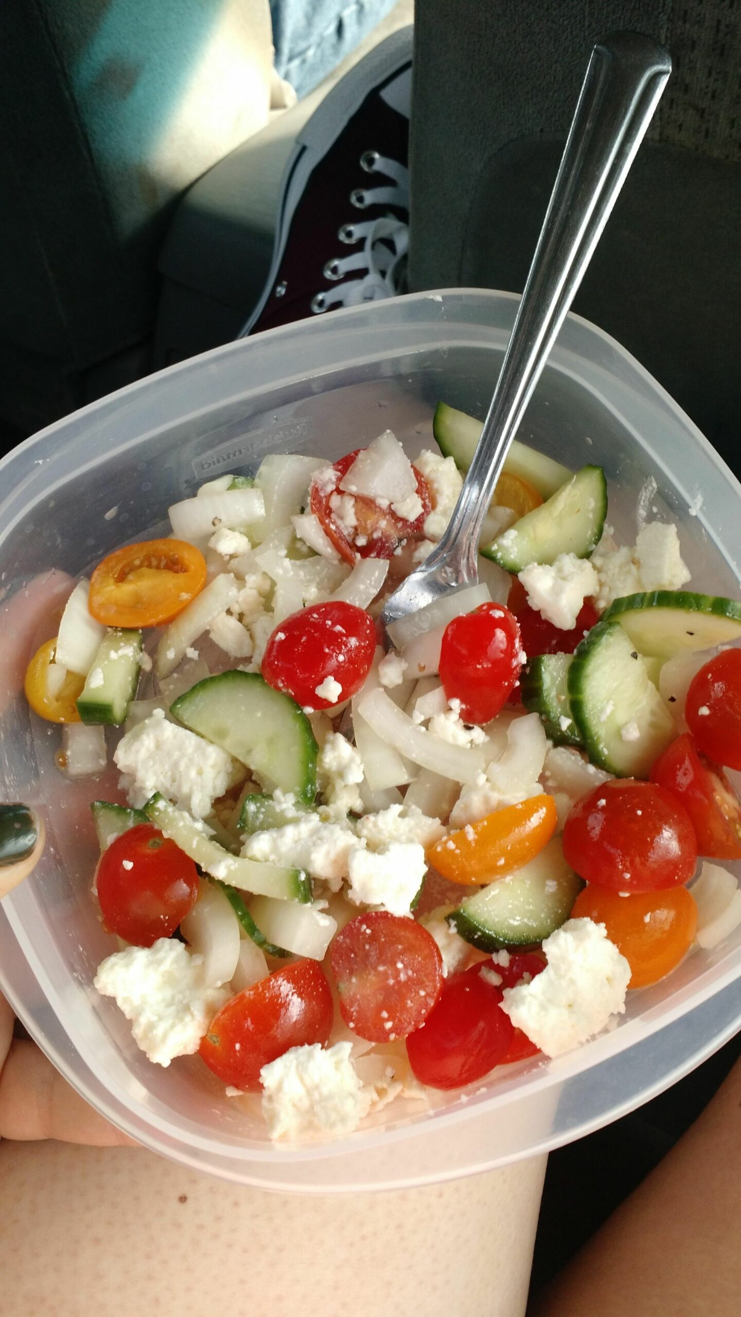 My go-to salad, under 11 calories! Most of that being the feta ..
