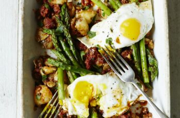 New potato and chorizo hash, with asparagus and egg