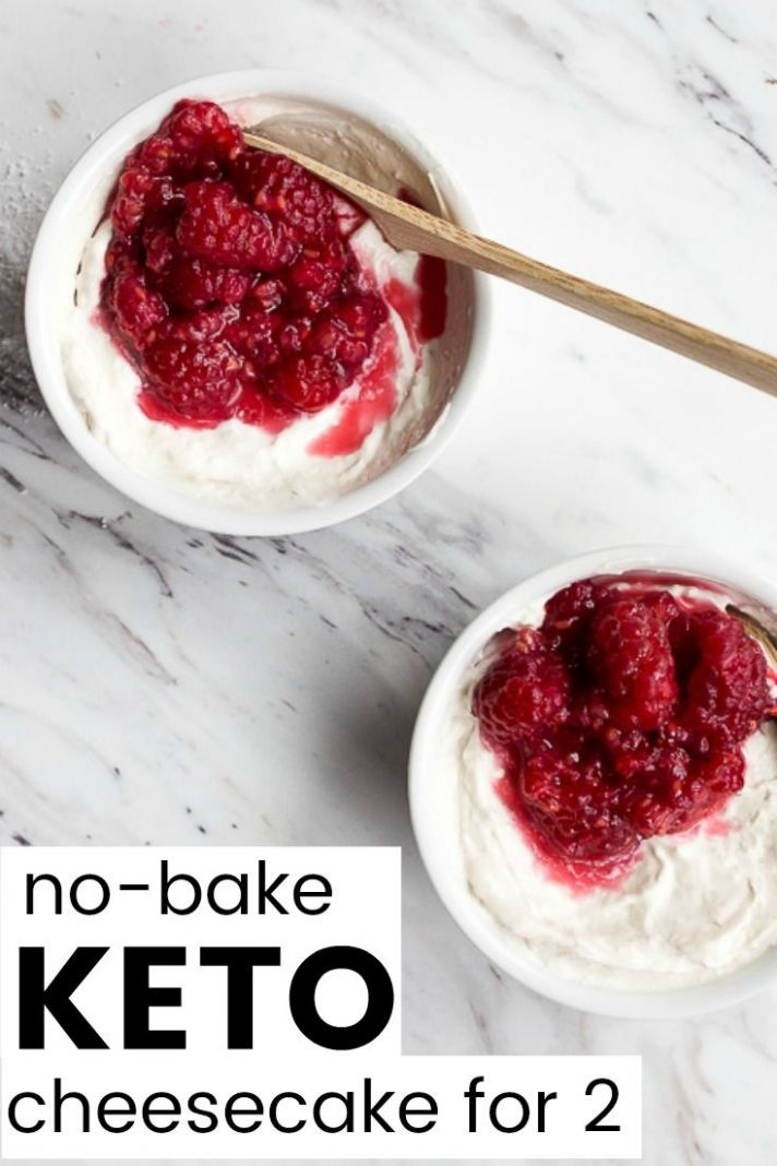 No bake keto cheesecake for two. Made in two ramekins with stevia ..