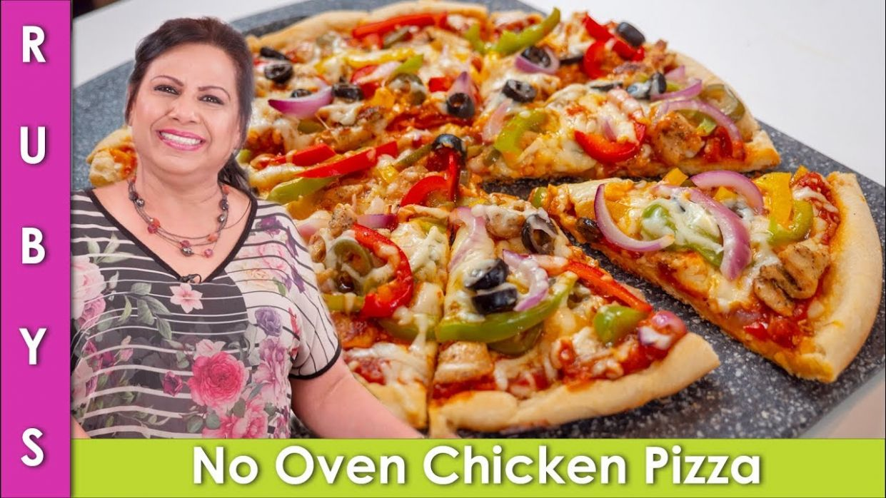 No Oven Chicken Pizza Recipe in Urdu Hindi - RKK - Pizza Recipes Urdu
