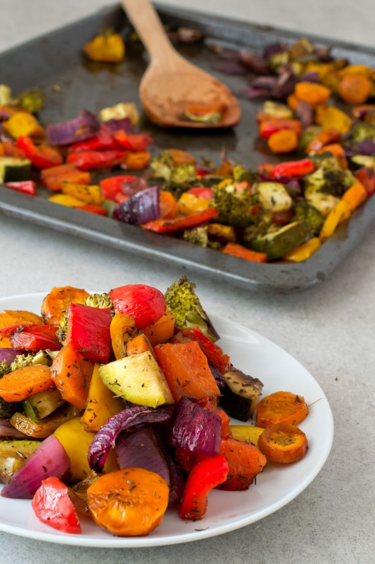 Oil Free Rainbow Roasted Vegetables - Vegetable Recipes Healthy Side Dish