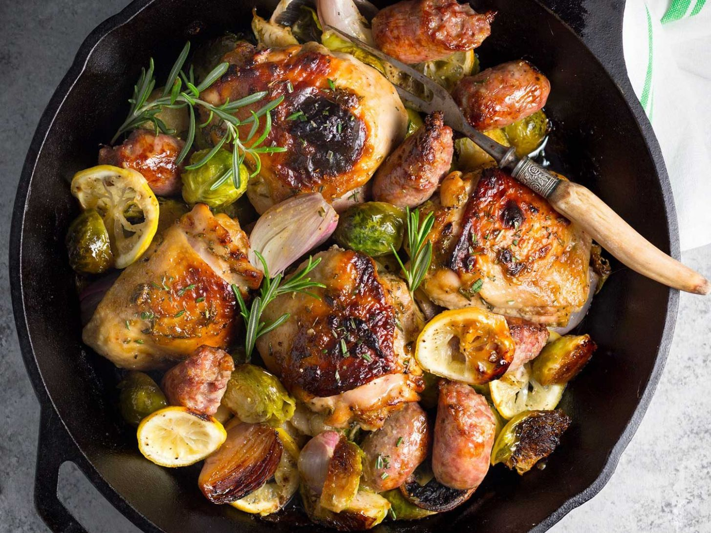 One-Pan Chicken, Sausage, and Brussels Sprouts Recipe - Recipes Chicken Sausage