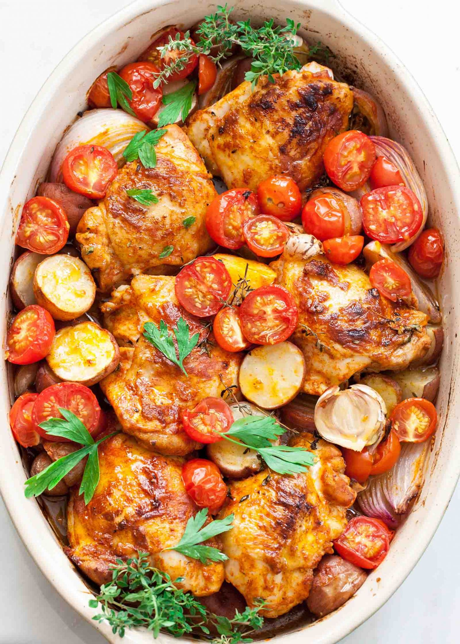 One-Pan Paprika Chicken with Potatoes and Tomatoes - Recipe Chicken Breast One Pot