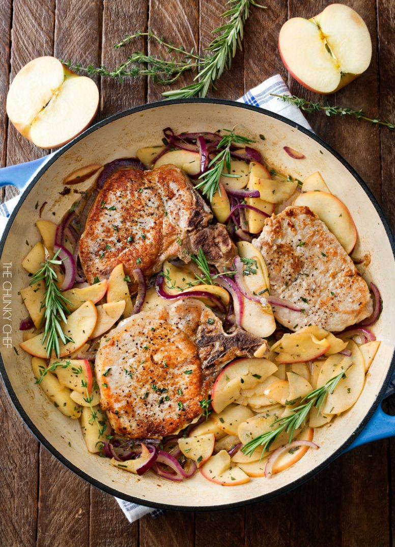 One Pan Pork Chops with Apples and Onions - Recipes Using Pork