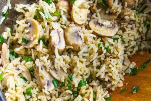 One pot garlic butter mushroom rice