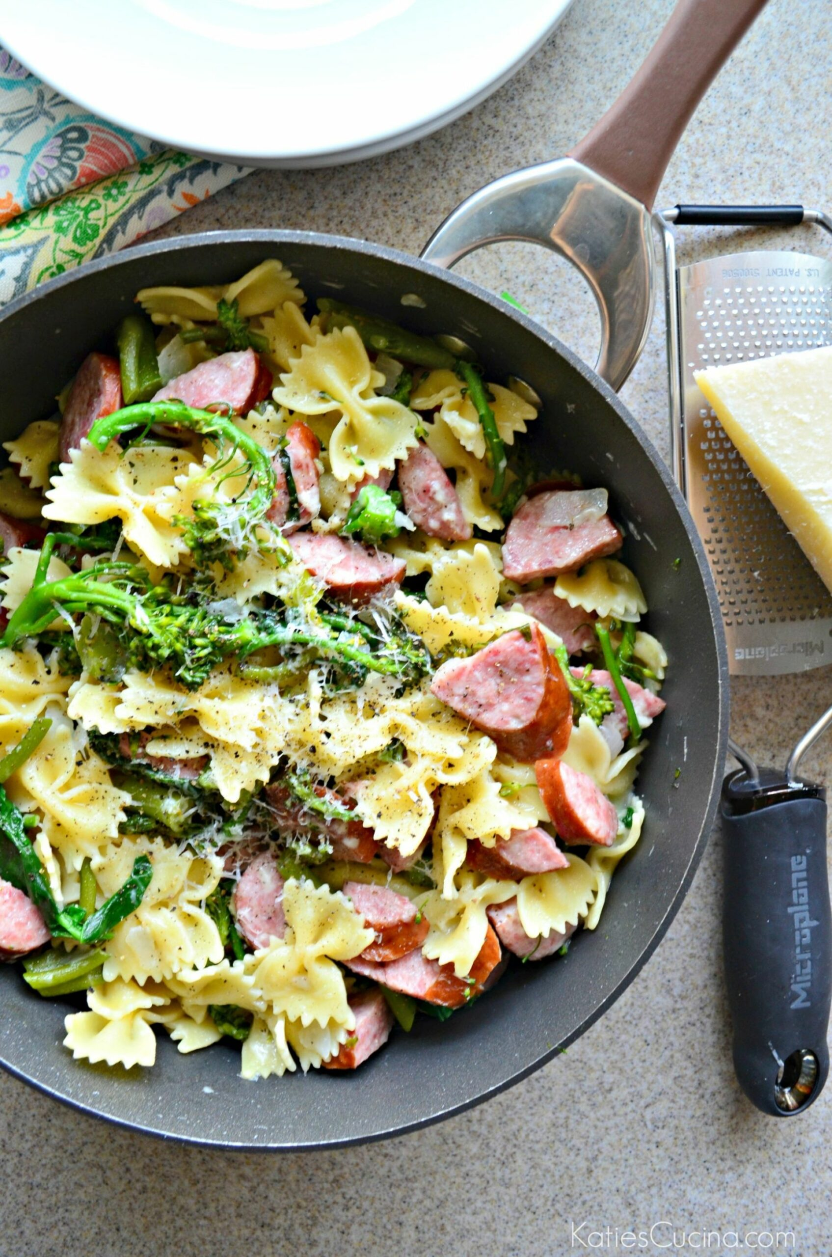 One Pot Kielbasa & Broccoli Pasta - Katie's Cucina