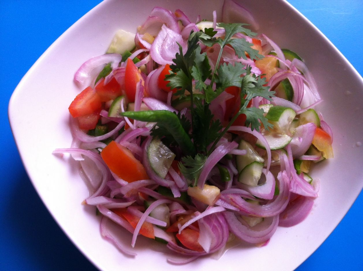 Onion, Cucumber, Tomato in Vinegar Salad Recipe - Kerala briyani salad - Salad Recipes Kerala