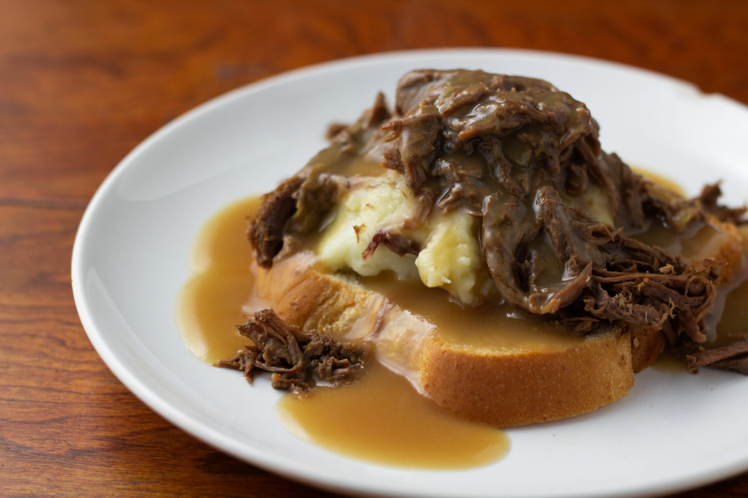 Open Faced Leftover Hot Roast Beef Sandwiches