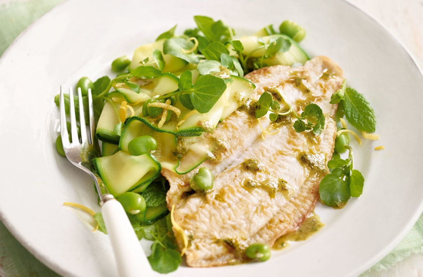 Pan-fried plaice with minty green salad - Recipes Cooking Plaice Fillets