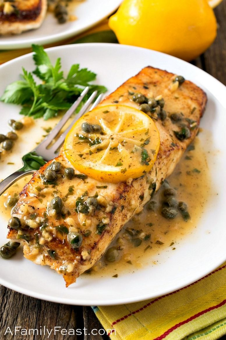 Pan Seared Halibut with Lemon Caper Sauce - A Family Feast® - Recipe Fish With Capers