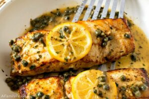 Pan Seared Halibut with Lemon Caper Sauce - A Family Feast®