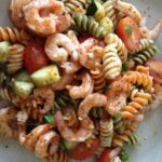 Pasta Salad With Shrimp, Grape Tomatoes, Cucumber, Scallions ..