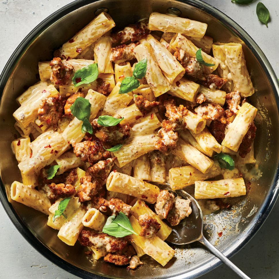 Pasta with Sausage, Basil and Mustard - Recipes Pasta With Sausage