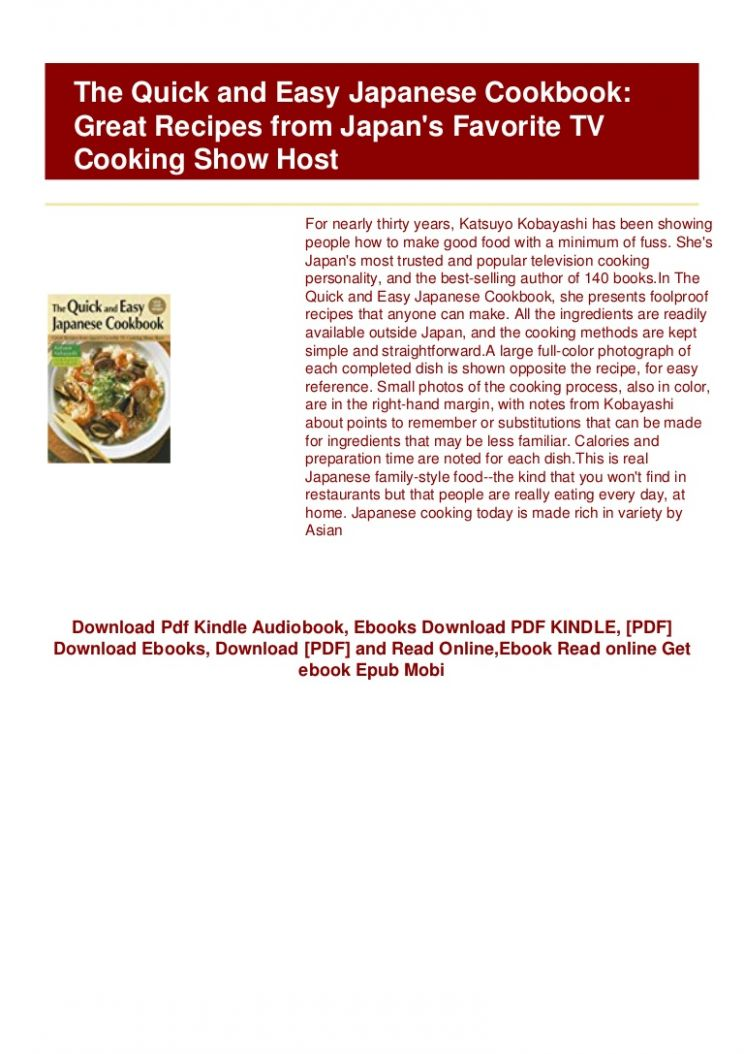 PDF) BOOKS The Quick and Easy Japanese Cookbook: Great Recipes from … - Cooking Recipes Pdf