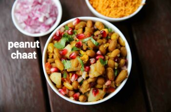 peanut chaat recipe | boiled peanut chaat salad | groundnut chat