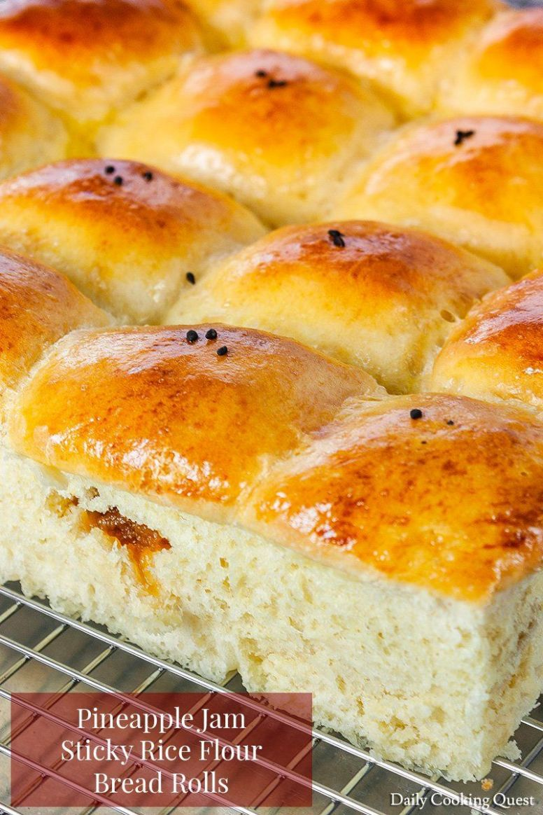 Pineapple Jam Sticky Rice Flour Bread Rolls - Recipes Of Rice Flour