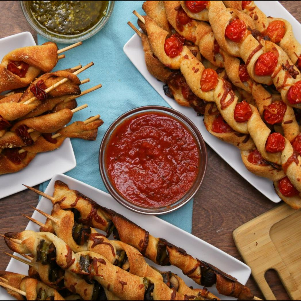 Pizza Sticks 10-Ways Recipe by Tasty - Recipes Pizza Skewers