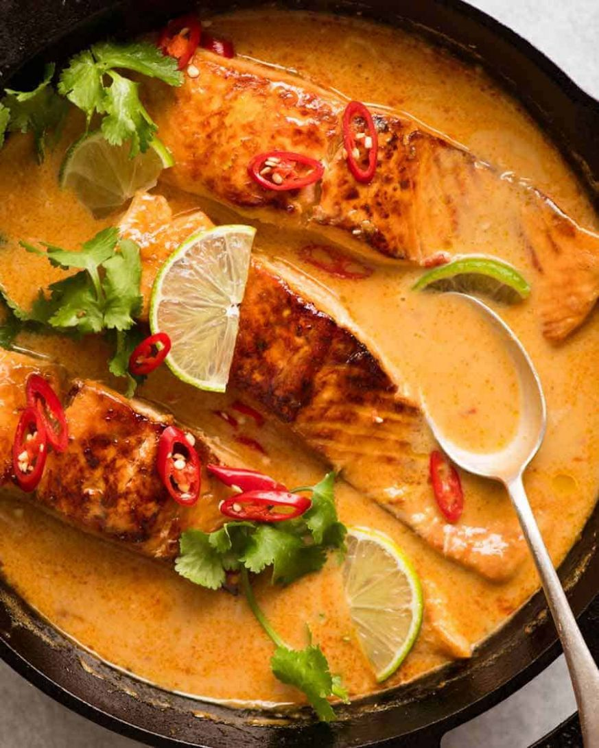 Poached Salmon in Coconut Lime Sauce | RecipeTin Eats - Recipes Fish Coconut Milk