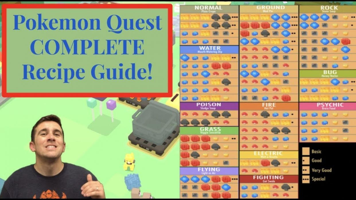 Pokemon Quest COMPLETE Recipe Guide - ALL 9 Recipes Tutorial - How To Cook  Every Recipe - Cooking Recipes Pokemon Quest