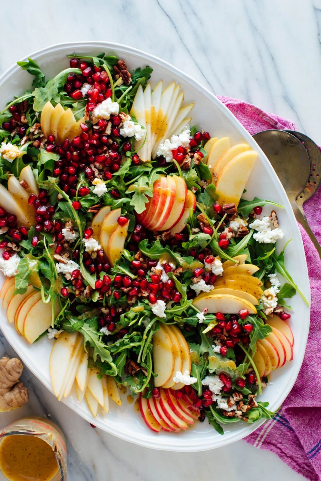 Pomegranate & Pear Green Salad with Ginger Dressing - Cookie and Kate