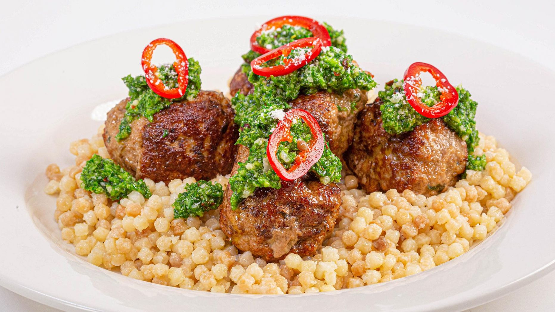 Pork & Veal Meatballs with Fregola Pasta + Broccoli Rabe Salsa Verde |  Scott Conant
