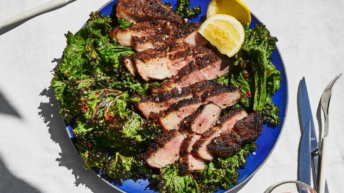 Pork Shoulder Steaks with Grilled Mustard Greens - Recipes Pork Shoulder Steaks