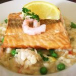Prawn Risotto With Seared Scottish Salmon Recipe – All Recipes UK – Recipe Fish Risotto