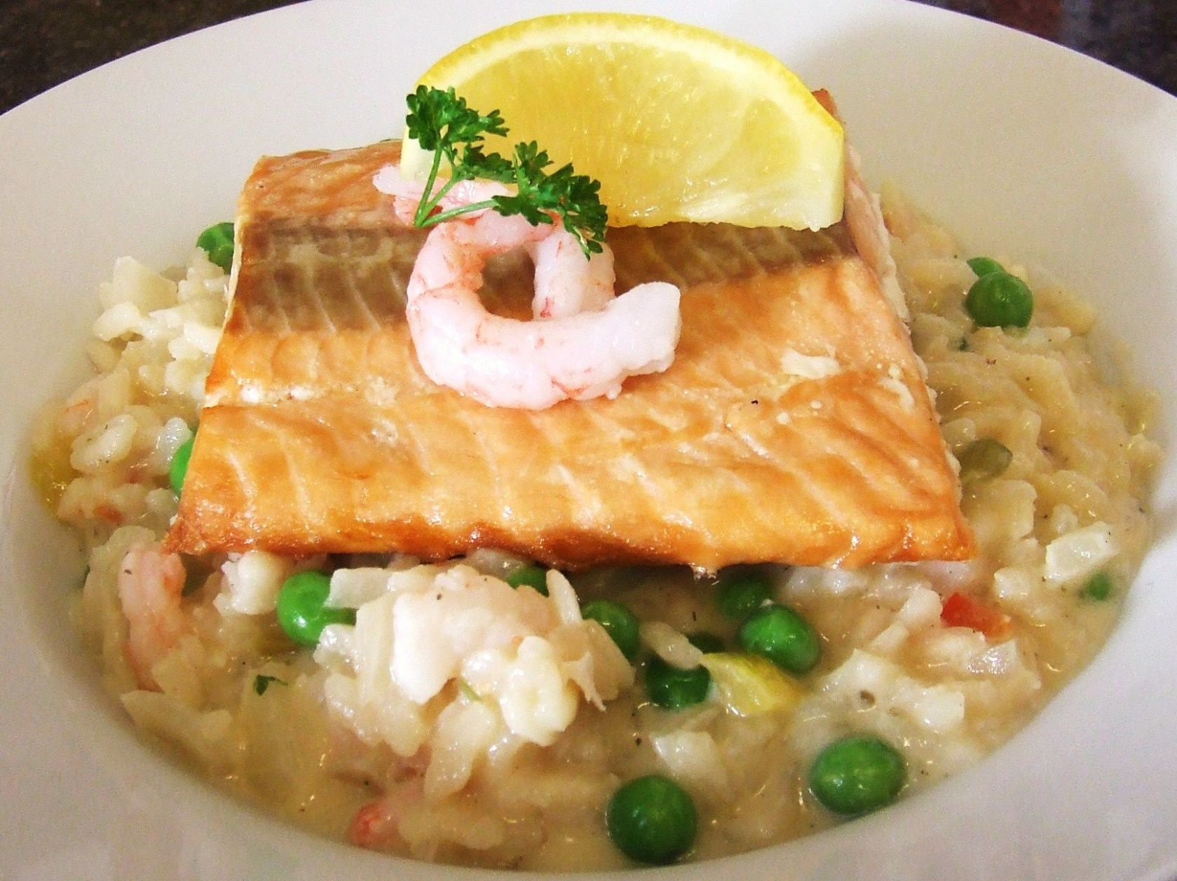 Prawn risotto with seared Scottish salmon recipe - All recipes UK - Recipe Fish Risotto
