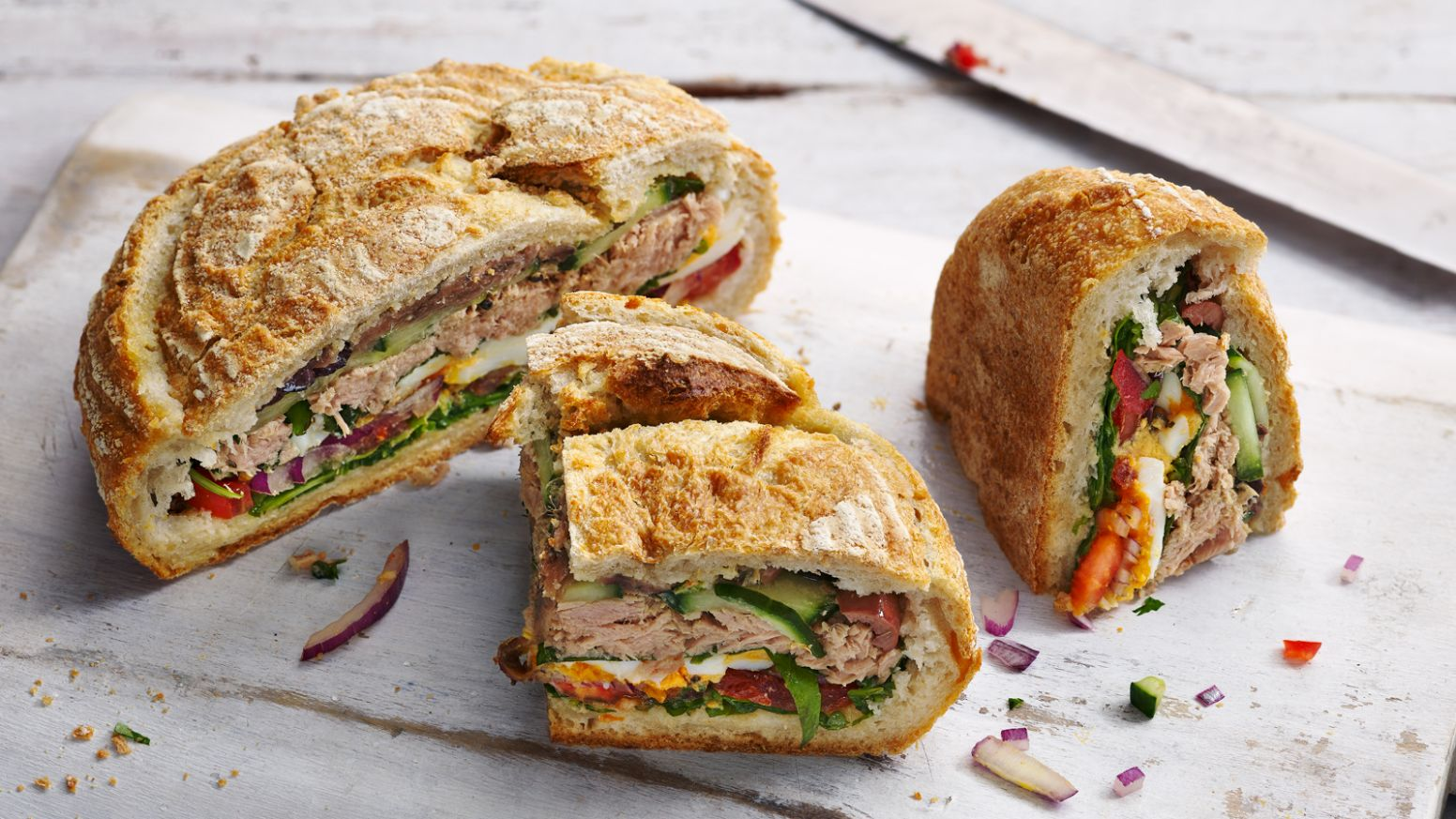 Provençal picnic sandwich (Pan bagnat) - Sandwich Recipes Bbc Good Food