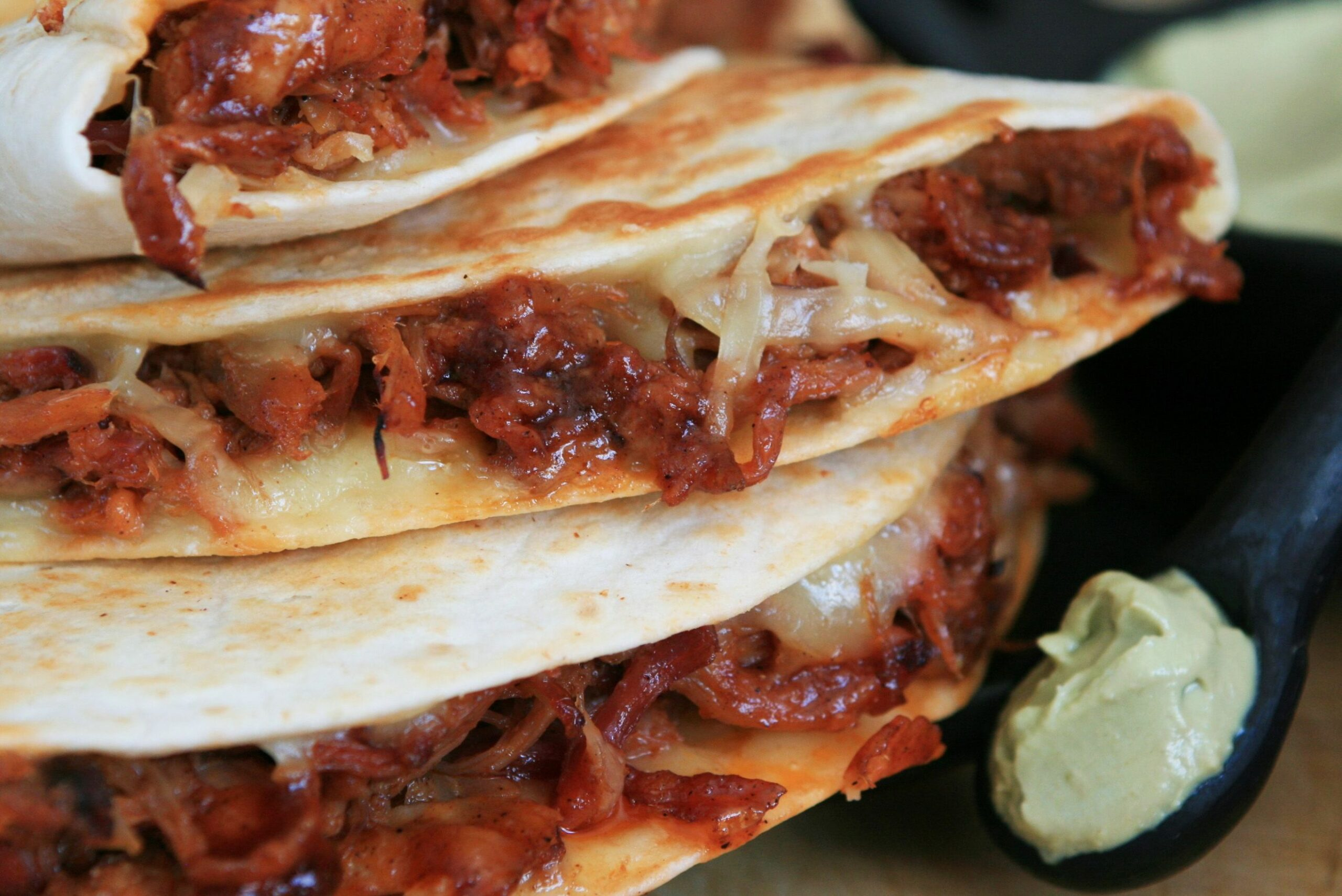 Pulled Pork Quesadilla with Chipotle-Cola BBQ Sauce and Avocado ..