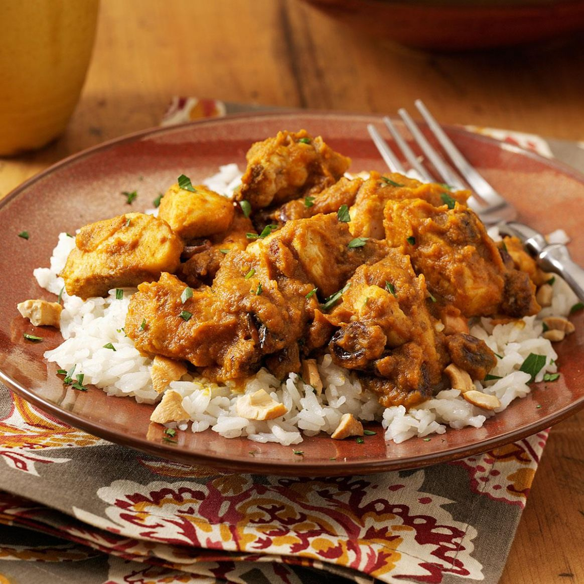 Pumpkin-Curry Chicken over Cashew Rice - Recipes Over Rice