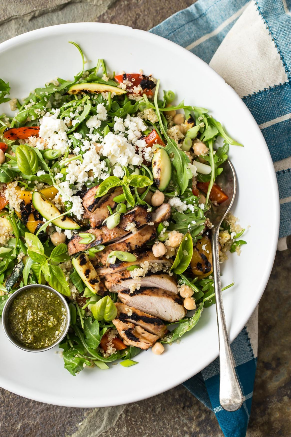 Quinoa Vegetable Salad with Grilled Chicken and Pesto - Salad Recipes With Quinoa And Chicken