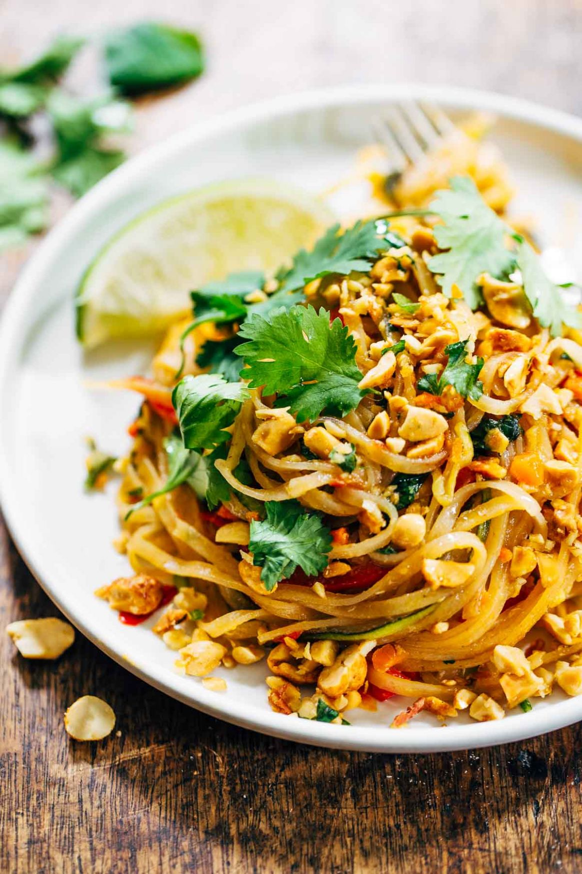 Rainbow Vegetarian Pad Thai with Peanuts and Basil Recipe - Pinch ..