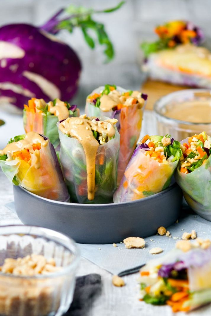 Raw rice paper wraps and satay sauce | Rice paper wraps, Rice ..