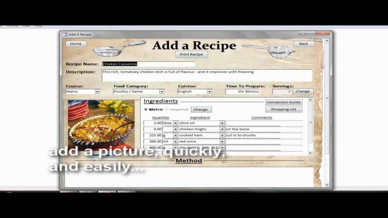Recipe Collection Database: Adding a new recipe - Food Recipes Database