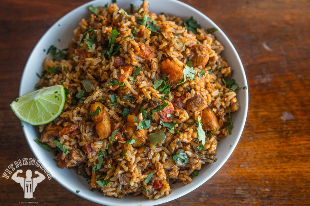 Rice Cooker Spanish Rice with Chicken & Shrimp - Fit Men Cook - Recipes Rice Cooker Meals